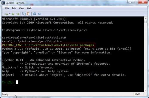 ipython & virtualenv