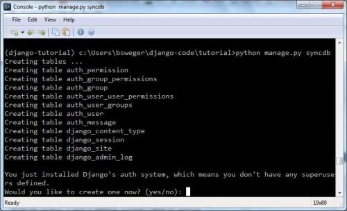 syncdb output